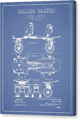 Roller Skate Patent Drawing From 1879 - Light Blue Canvas Print by Aged Pixel