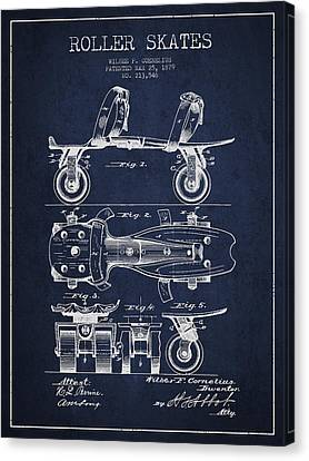 Roller Skate Patent Drawing From 1879 - Navy Blue Canvas Print by Aged Pixel