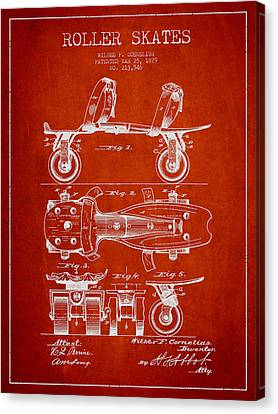 Roller Skate Patent Drawing From 1879 - Red Canvas Print by Aged Pixel