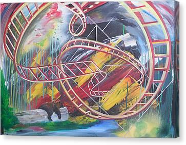 Rollercoaster Bear Canvas Print by Toblerusse