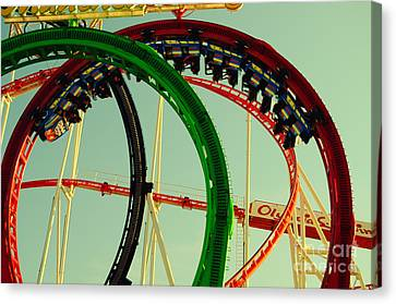 Rollercoaster Looping At The Actoberfest In Munich Canvas Print by Sabine Jacobs