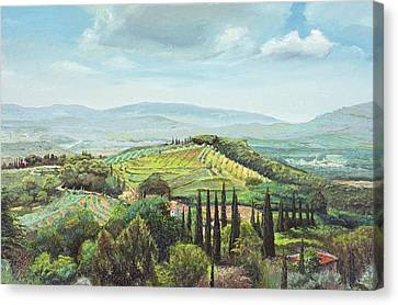 Rolling Hills, Pistoia, Tuscany Oil On Canvas Canvas Print