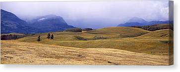 Pastureland Canvas Print - Rolling Landscape With Mountains by Panoramic Images
