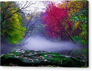 Wissahickon Canvas Print - Rolling Mist On The Wissahickon Creek by Bill Cannon