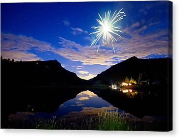 Rollinsville Yacht Club Fireworks Private Show 52 Canvas Print by James BO  Insogna