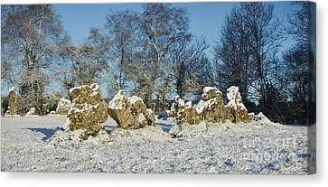 Rollright Stones In Winter Canvas Print by Tim Gainey