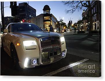 Rolls Royce Parked At The Bottom Of Rodeo Drive Canvas Print by Nina Prommer
