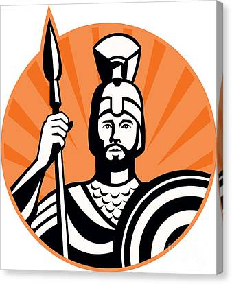 Roman Centurion Soldier With Spear And Shield Canvas Print by Aloysius Patrimonio