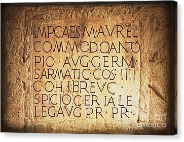 Lime Canvas Print - Roman Inscription by Heiko Koehrer-Wagner
