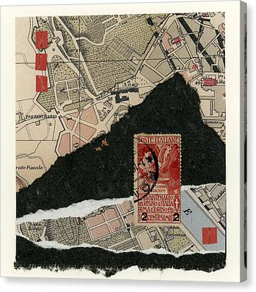 Roman Map Collage Canvas Print by Carol Leigh