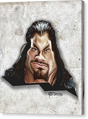 Roman Reigns Caricature By Gbs Canvas Print by Anibal Diaz