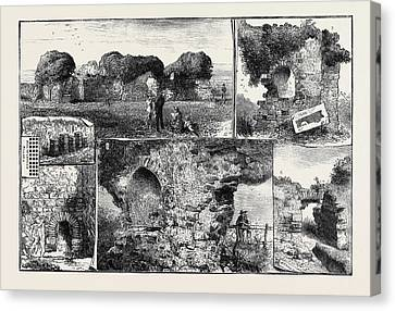 Roman Remains At Walls Castle Canvas Print by English School