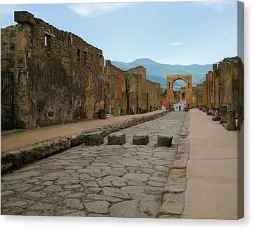 Roman Street In Pompeii Canvas Print by Alan Toepfer