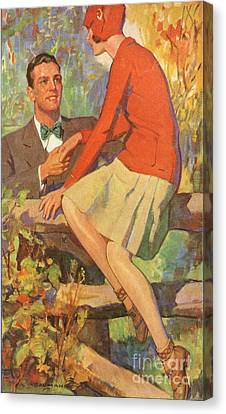 Romance 1920s Usa Manners Chivalry Canvas Print by The Advertising Archives