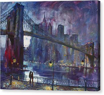 City Scenes Canvas Print - Romance By East River Nyc by Ylli Haruni