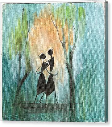 Romance In Blue Canvas Print by Chintaman Rudra