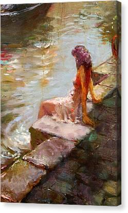 Romance In Venice Viola Canvas Print