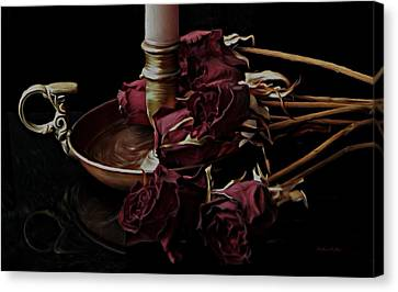 Romancing The Dead Roses Canvas Print by Barbara St Jean
