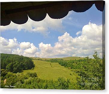 Canvas Print featuring the photograph Romanian Hills by Ramona Matei