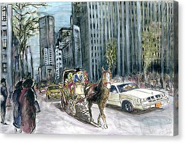 New York 5th Avenue Ride - Fine Art Painting Canvas Print