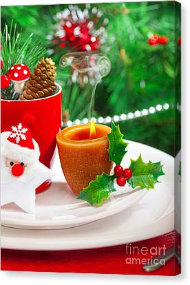 Romantic Christmastime Dinner Canvas Print by Anna Om