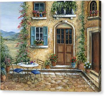Flower Boxes Canvas Print - Romantic Courtyard by Marilyn Dunlap