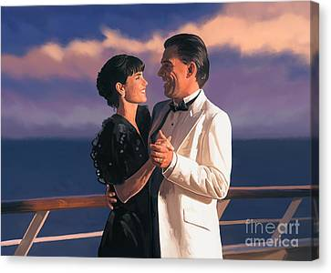 Canvas Print featuring the painting Romantic Cruise by Tim Gilliland