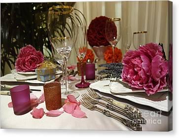Romantic Dinner Setting Canvas Print by Nina Prommer