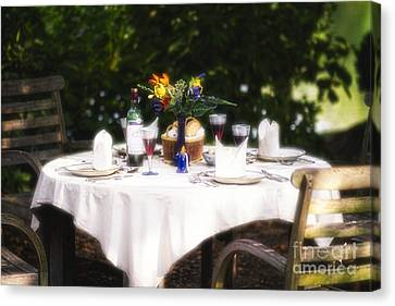 Romantic Outdoor Dinner Table  Canvas Print by George Oze