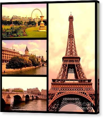 Romantic Paris Sunset Collage Canvas Print by Carol Groenen