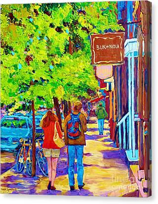 Romantic Stroll Along Rue Laurier Montreal Street Scenes Paintings Carole Spandau Canvas Print by Carole Spandau