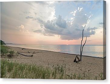 Romantic Sunset At Agate Beach Canvas Print