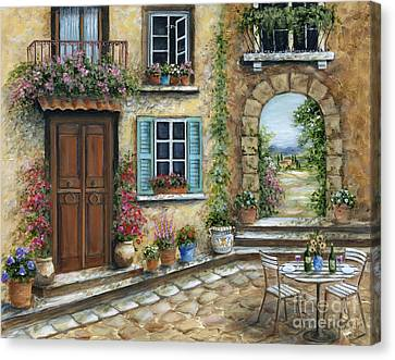 Wine Scene Canvas Print - Romantic Tuscan Courtyard by Marilyn Dunlap