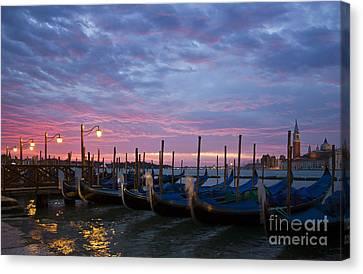Italian Islands Canvas Print - Romantic Venice Sunrise With Gondolas by Kiril Stanchev