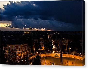 Rome Cityscape At Night  Canvas Print