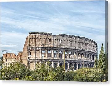 Rome Colosseum From Domus Aurea Park Area Canvas Print
