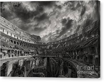 Rome Colosseum Interior Monochromatic Canvas Print