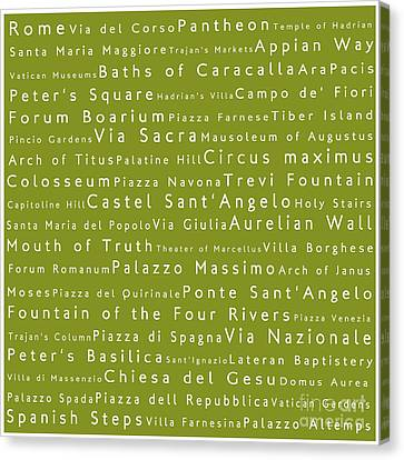 Rome In Words Olive Canvas Print by Sabine Jacobs