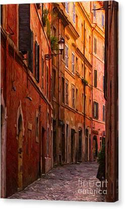Oil Lamp Canvas Print - Rome Narrow Street Painting by Antony McAulay