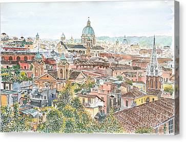 Rome Overview From The Borghese Gardens Canvas Print by Anthony Butera