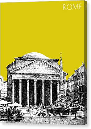 Rome Skyline The Pantheon - Mustard Canvas Print by DB Artist