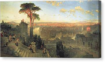 Rome, Sunset From The Convent Of San Onofrio On Mount Janiculum, 1856 Oil On Canvas Canvas Print by David Roberts