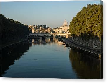 Canvas Print featuring the photograph Rome Waking Up by Georgia Mizuleva