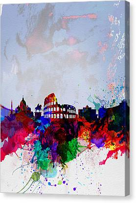 Downtown Canvas Print - Rome Watercolor Skyline by Naxart Studio