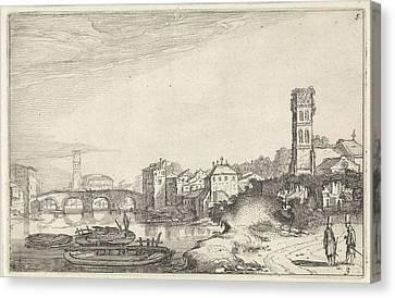 Rome With The Tiber And The Ponte Sisto Italy Canvas Print by Jan Van De Velde Ii