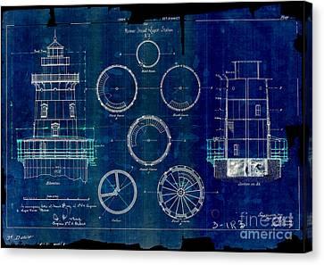 Romer Shoal Light Station Circa 1838 Blue Canvas Print