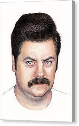 Ron Swanson Portrait Nick Offerman Canvas Print by Olga Shvartsur
