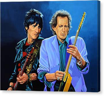 Artwork On Canvas Print - Ron Wood And Keith Richards by Paul Meijering