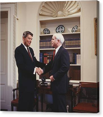 Ronald Reagan And John Mccain Canvas Print by Carol Highsmith