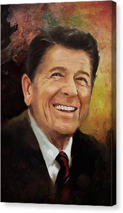President Adams Canvas Print - Ronald Reagan Portrait 8 by Corporate Art Task Force